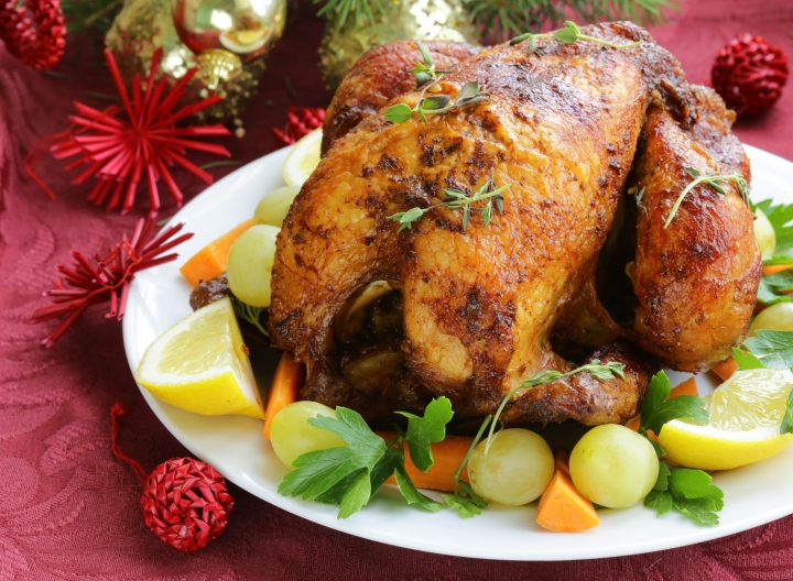 baked chicken for Christmas dinner, festive table setting